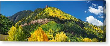 Aspen Trees On Mountain, Needle Rock Canvas Print by Panoramic Images