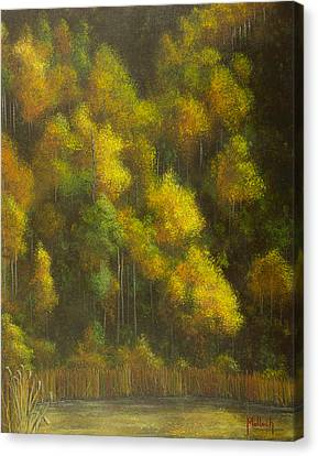 Aspens And Cattails Canvas Print