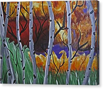 Aspens And Wine Canvas Print by Tammy Sutherland