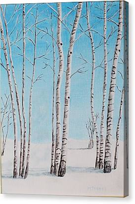 Aspens In Snow Canvas Print