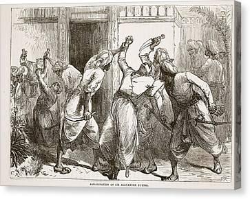 Assassination Of Sir Alexander Burnes Canvas Print by English School