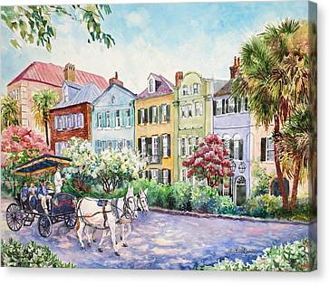 Charleston Houses Canvas Print - Assault And Battery On Rainbow Row by Alice Grimsley