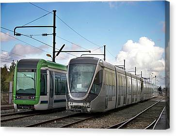 For Factory Canvas Print - Assembled Trams Awaiting Delivery by Andrew Wheeler