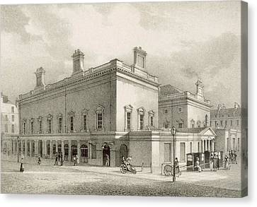 Assembly Rooms, Bath, Circa 1883 Canvas Print by R Woodroffe