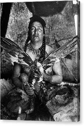 Native American Spirit Portrait Canvas Print - Assiniboin And Eagle, 1926 by Granger