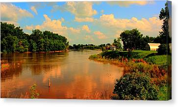 Assiniboine River Hdr Canvas Print by Larry Trupp