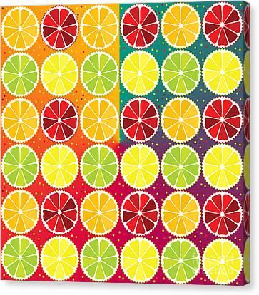 Assorted Citrus Pattern Canvas Print by Gaspar Avila