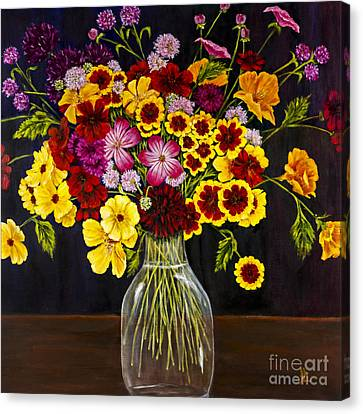 Assorted Flowers In A Glass Vase By Alison Tave Canvas Print by Sheldon Kralstein