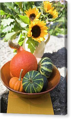 Wooden Bowl Canvas Print - Assorted Squashes In Bowl And Sunflowers In The Open Air by Foodcollection