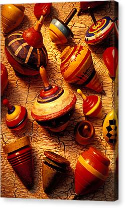 Assorted Toy Tops Canvas Print by Garry Gay