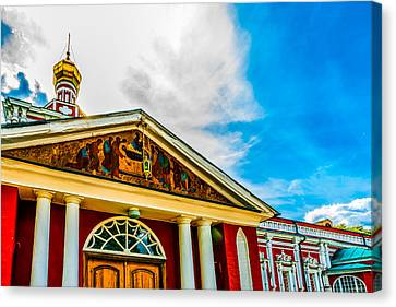 Russian Icon Canvas Print - Assumption Church And A Hanging Vigil Light by Alexander Senin