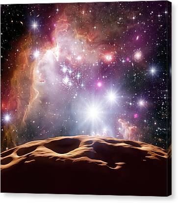 Asteroid And Star Cluster Canvas Print by Detlev Van Ravenswaay
