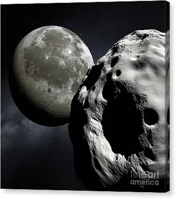 Asteroid Apophis And The Moon, Artwork Canvas Print by Detlev Van Ravenswaay