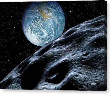 Asteroid Approaching Earth Canvas Print by David A. Hardy
