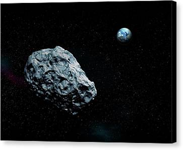 Asteroid Approaching Earth Canvas Print by Mikkel Juul Jensen
