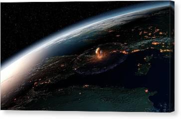 Asteroid Impact In Europe Canvas Print by Joe Tucciarone