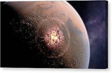 Asteroid Impact On Mars Canvas Print by Joe Tucciarone