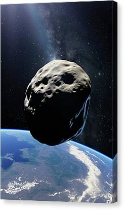 Planetoid Canvas Print - Asteroid Passing Earth by Detlev Van Ravenswaay
