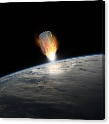 Outer Space Canvas Print - Asteroid Strike No.1  by Marc Ward