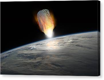 Outer Space Canvas Print - Asteroid Strike No.1h by Marc Ward