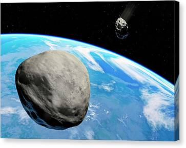 Asteroids Approaching Earth Canvas Print by Detlev Van Ravenswaay