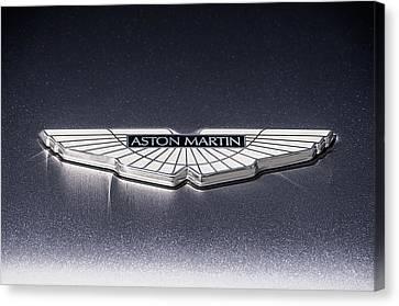 Canvas Print featuring the digital art Aston Martin Badge by Douglas Pittman