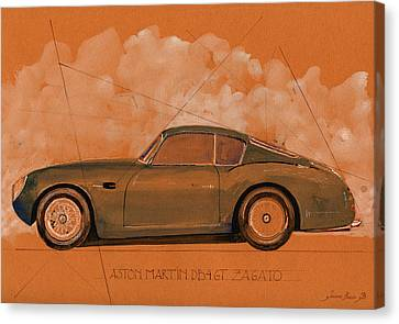 British Classic Cars Canvas Print - Aston Martin Db4 Gt Zagato by Juan  Bosco