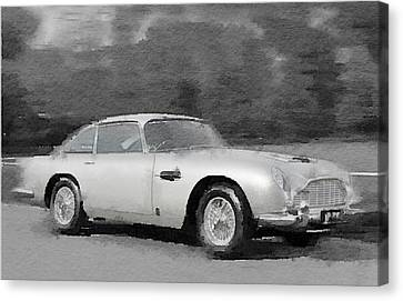 Aston Martin Canvas Print - Aston Martin Db5 Watercolor by Naxart Studio