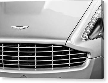 Grill Canvas Print - Aston Martin Grille Emblem -0740bw by Jill Reger