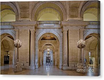 Astor Hall At The New York Public Library Canvas Print by Susan Candelario