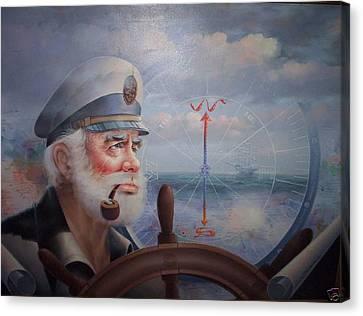 Astounding Sea Captain Original Or Map Captain 1987 Canvas Print by Yoo Choong Yeul