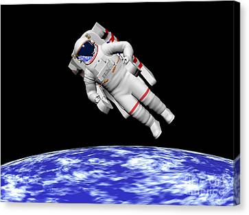 Astronaut Floating In Outer Space Canvas Print by Elena Duvernay