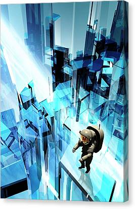 Astronaut On A Futuristic Building Canvas Print by Victor Habbick Visions
