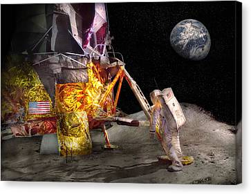Astronaut - One Small Step Canvas Print by Mike Savad