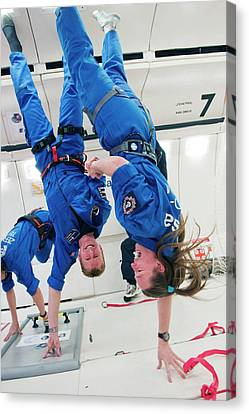 Astronauts Training In Free-fall Canvas Print by Esa - A. Le Floc'h