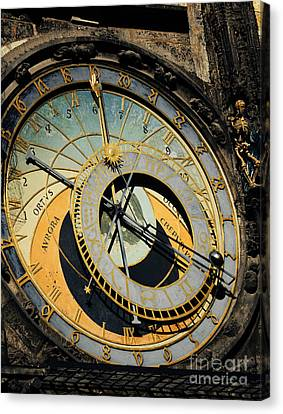 Astronomical Clock In Prague Canvas Print by Jelena Jovanovic
