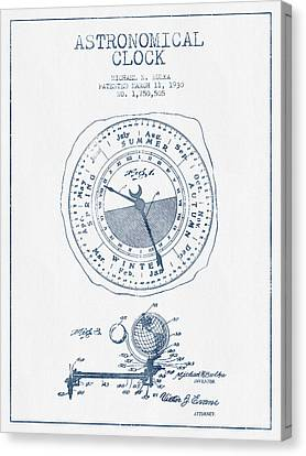 Astronomical Clock Patent From 1930  - Blue Ink Canvas Print