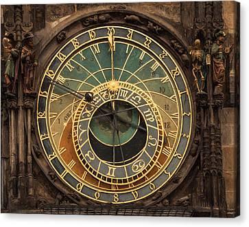 Astronomical Clock Canvas Print by Shirley Radabaugh