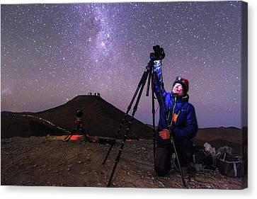 Astrophotographer In The Desert Canvas Print by Babak Tafreshi