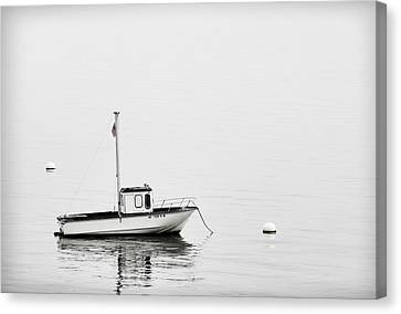 At Anchor Bar Harbor Maine Black And White Canvas Print by Carol Leigh