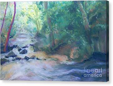 Canvas Print featuring the painting At Bob's Creek by Mary Lynne Powers