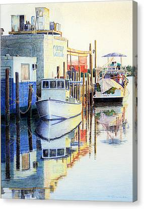 Canvas Print featuring the painting At Cortez Docks by Roger Rockefeller