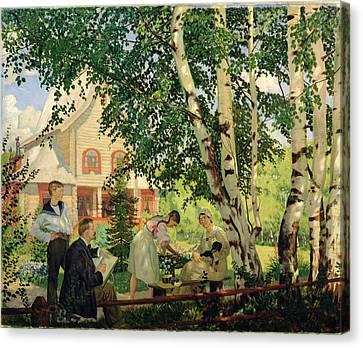 At Home, 1914-18 Oil On Canvas Canvas Print by Boris Mikhailovich Kustodiev
