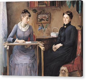 At Home Or Intimacy, 1885 Oil On Canvas Canvas Print by Marie Louise Catherine Breslau