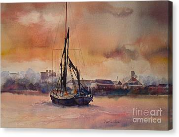Canvas Print featuring the painting At Rest On The Thames London by Beatrice Cloake