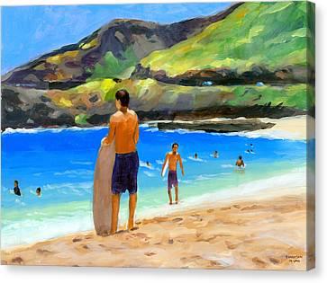 At Sandy Beach Canvas Print