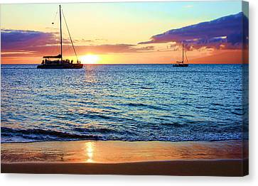 Canvas Print featuring the photograph At Sea Sunset by Robert  Aycock