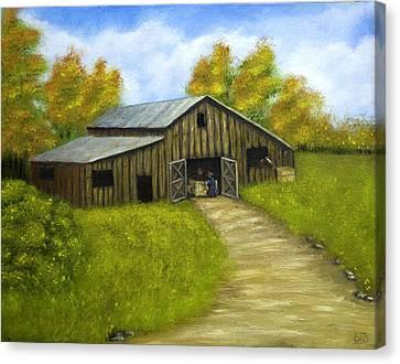 At The Barn Canvas Print