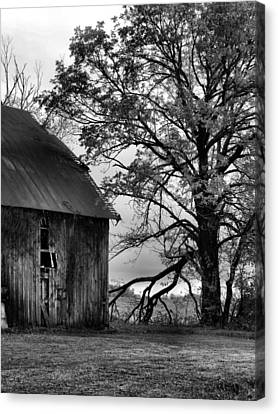 Southern Indiana Autumn Canvas Print - At The Barn In Bw by Julie Dant