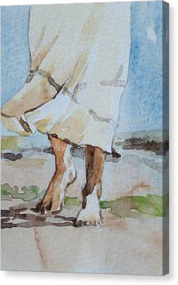 Canvas Print featuring the painting At The Beach 2  by Becky Kim